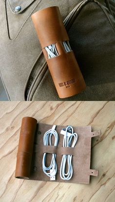Leather travel cord organizer ✯