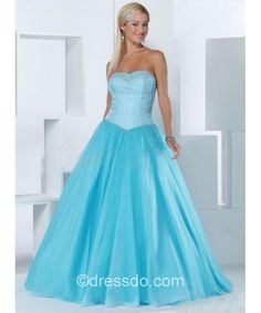 Strapless Sweetheart Sexy Blue Ball Gown Floor-length Satin Lace-up Prom Dress With Beading – Dressdo.com