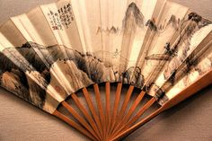 Ancient Japanese Fan on Display in Ueno Park at Tokyo National Museum