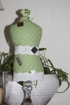 Dressmaker Form Pin Cushion Mannequin Green and by sherimusum, $25.00