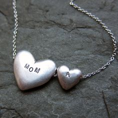 Give a little love - Personalized double heart necklace
