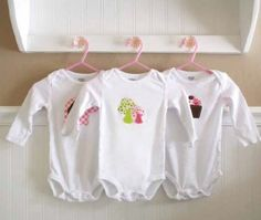 Cricut Onesie directions! This is a sewing method, but I bet using freezer paper +stencil would be cute too!