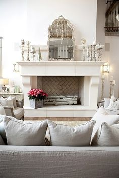 mirror, interior, living rooms, faux fireplace, fireplace mantles, mantel, brick, tile, candlestick