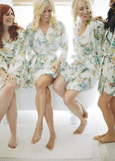 Bridesmaid Gift...fun silky robes for everyone to get ready in!