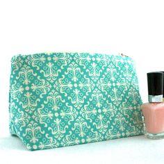Handmade Cosmetic Bag in Retro Aqua Art Deco by JordaniSarreal, $11.95