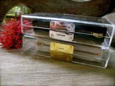 Clear clutches, customizable by mnologie