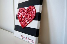 Canvas with Button burlap {heart}