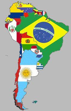 Map of South American with country flags. Fun! Mapa de Sudamérica con las banderas de los países.
