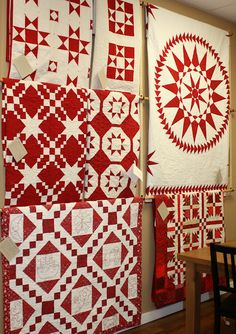 Beautiful red and white quilts