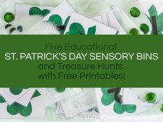St Patricks Day Sensory Bins and Treasure Hunts for Kids -- Five different ideas!