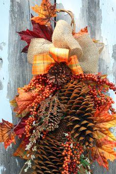 Fall Swag, Sugar Pinecones, Berries, Burlap, Plaid Ribbon via Etsy.