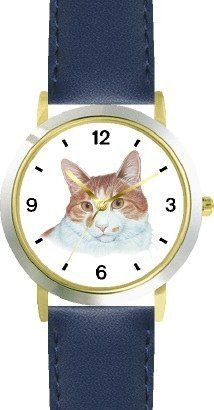 Tan and White Cat - JP - WATCHBUDDY® DELUXE TWO-TONE THEME WATCH - Arabic Numbers - Blue Leather Strap-Children's Size-Small ( Boy's Size & Girl's Size ) WatchBuddy. $49.95. Save 38% Off!
