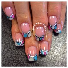 French manicure gel with colorgel And foil