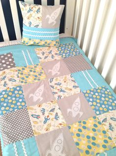 Rocket Baby Boy Crib Quilt  organic cotton by AlphabetMonkey, $165.00