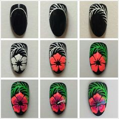 Tropical hibiscus tutorial by Attitude Nails