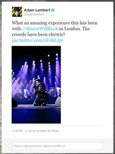 Adam Lambert after the London show on 12th July, 2012   Source: Twitter Adam Lambert