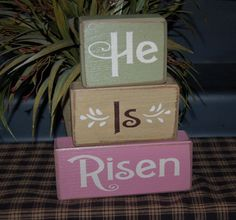 HE Is RISEN Religious Easter Primitive Word Blocks Sign Distressed Stacking Shelf Blocks Home Decor Gift