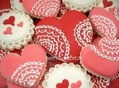 valentine cookies, lace cooki, heart cookies, food, flooded cookies
