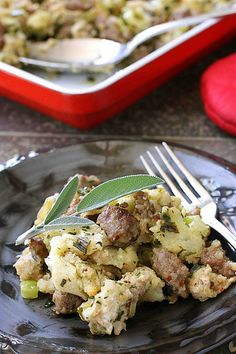 Savory Bread Stuffing with Herbs & Sausage | cookincanuck.com #Thanksgiving