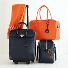 roll tote, purs, travel bags, oranges, navy, country life, audrey board, board bag, suitcas