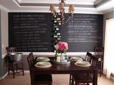 Chalkboard wine wall for all of you winos out there. Love this!
