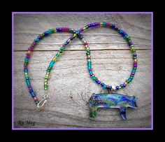 Dichroic glass show pig  pendant with nice bead by hopthefence, $30.00