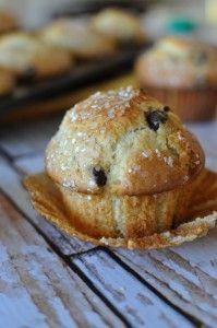 Banana Chocolate Chip Bakery Muffins | My PB + J