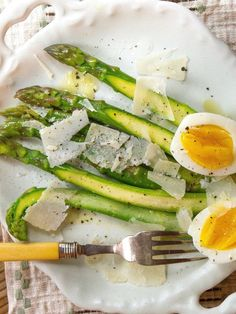 Throw together an easy meal of asparagus with eggs and parmesan.
