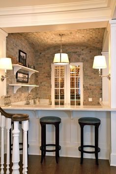 "finished basement idea, for that ""2nd Kitchen"" idea...Love the feeling of this space! The white trim and crown moulding are beautiful & flow with the rest of my house. Love the warmth of stone."