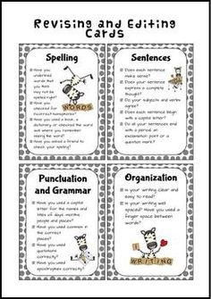Super Cute Posters and Cards to help your students edit their own writing. Checklist also included. ($)