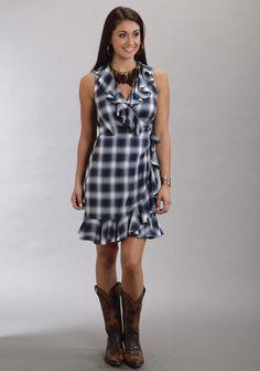 Stetson® Indigo Ombre Plaid Sleeveless Western Wrap Dress