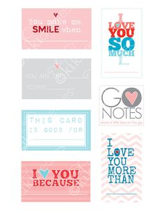 Lunchbox notes printables - love themed