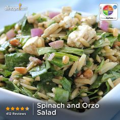 Spinach and Orzo Salad from Allrecipes.com #myplate #veggies #grain #dairy