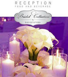 tutera bridal, reception decorations, bridal collection, receptions, calla lilies, diamond bands, centerpieces, david tutera, flower