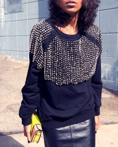 spike, sweater, style, stud sweatshirt, leather skirts, winter outfits, mini skirts, fashion bloggers, black