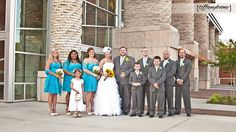 wedding parties, turquois daisi, skypac bride, parti yellow, bride groom