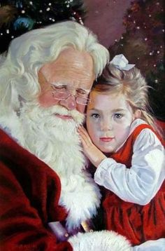 Charming Oil Painting Christmas Gifts Santa Claus and Little Girl on Canvas