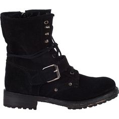ASH Roses Combat Boot Black Suede ($325) ❤ liked on Polyvore