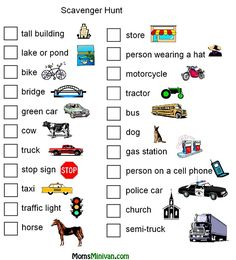 Road Trip Scavenger Hunt Game  also a ton of other ideas for kids