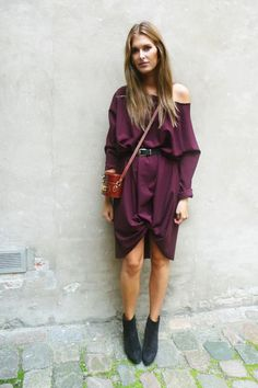diy - thrifted men's shirt, take in on the sides/arms, cut out shoulders. http://www.chictopia.com/photo/show/160820-DIY+dress-purple-diy-dress-black-alaia-shoes-brown-vintage-moschino-accessories