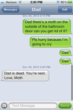 bahaha funny texts, dad, laugh, parenting done right, funni, funny text messages, amus, spider, moth