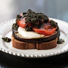 Open-Faced Grilled Eggplant Sandwich with Pesto, Tomatoes, and Fresh Mozzarella