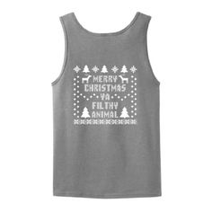 Merry Christmas Ya Filthy Animal Tank Top T-Shirt Ugly Fake Immitation Knit Sweater Home Alone Ugly Sweater Party Funny Reindeer Santa Snowflake Wife Beater Tank Top Tee Large Sport Grey