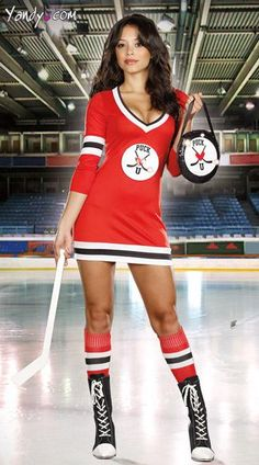 """Puck U Hockey Player Costume - The three-piece, Puck U costume includes a sporty, deep V-neck, stretch knit, jersey-style dress with three quarter length sleeves, unique sequin accented front and back """"Puck U"""" and perfect """"10"""" details, sequin hockey puck purse, mini hockey stick and socks."""