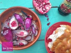 Roasted Red Onions with Pomegranate Seeds and Molasses