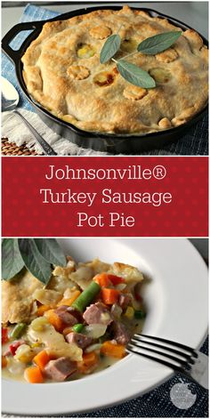 Subbed Jville Turkey sausage for the chicken in this pot pie recipe.  Also added butternut squash, thyme, and sage!  Really delicious comfort food!  #allstarsjville #jvillekitchens #Fall