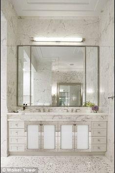 Mirrors, chrome, marble, glamorous bath