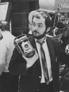 """Stanley Kubrick Holding Polaroid Camera During Filming of """"2001: A Space Odyssey."""""""
