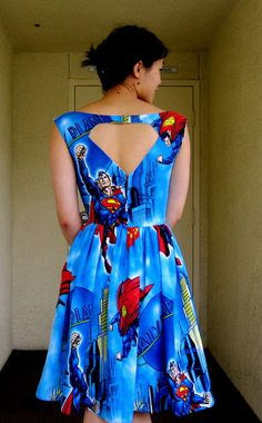 Picture of Making a Cutout Back Lined Dress with a Center Back Zipper - used a bed sheet! Batman too?
