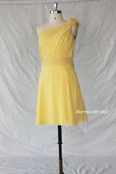 One shoulder Tea Length yellow dress, short bridesmaid dress, short bridesmaid gown, wedding party dresses with handmade flowers